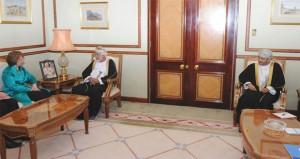 يوسف بن علوي يستقبل الممثلة العليا للإتحاد الأوروبي للشؤون الخارجية والسياسة الأمنية