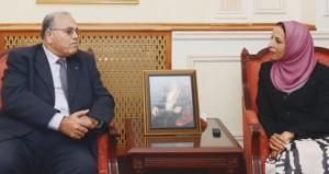 مديحة الشيبانية تستقبل وزير التربية والتعليم العالي الفلسطيني