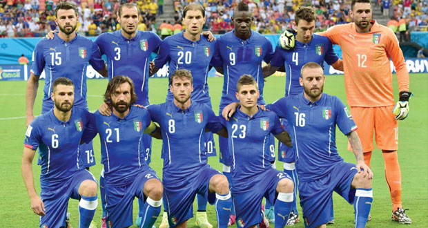 """إيطاليا تواجه الأوروجواي في """"موقعة البقاء والأعصاب"""" وانجلترا تلعب أمام كوستاريكا قاهرة العمالقة"""