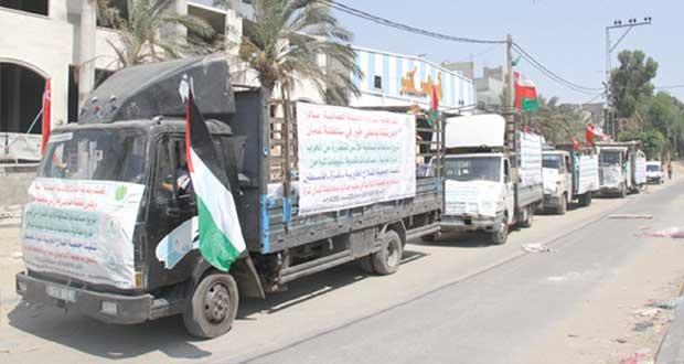 """قوافل المبادرة العمانية """" بادر"""" الإغاثية تتواصل في شمال غزة"""