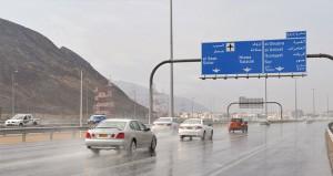 أمطار متفاوتة الغزارة على عدد من ولايات السلطنة