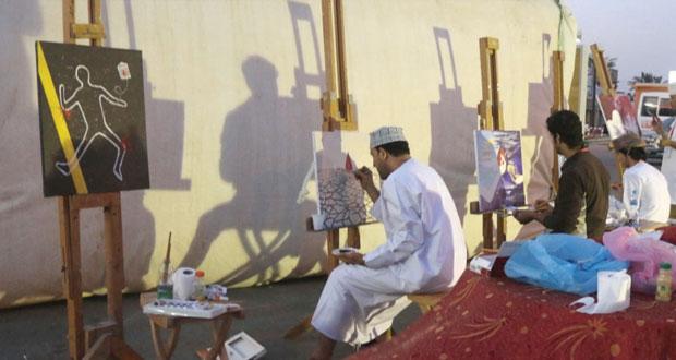 """""""مرسم صحار"""" يشارك بعمل فني في حملة التبرع بالدم في شناص"""