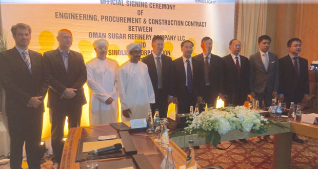 """""""عمان لتكرير السكر"""" توقع اتفاقية مع """"ساينولايت"""" الصينية لتطوير مصنع لتكرير السكر في ميناء صحار بقيمة 300 مليون دولار"""