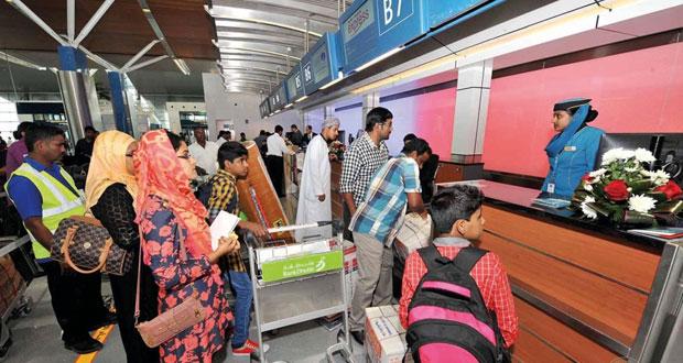 ارتفاع حركة المسافرين والشحن بمطاري مسقط الدولي وصلالة بنهاية مايو الماضي