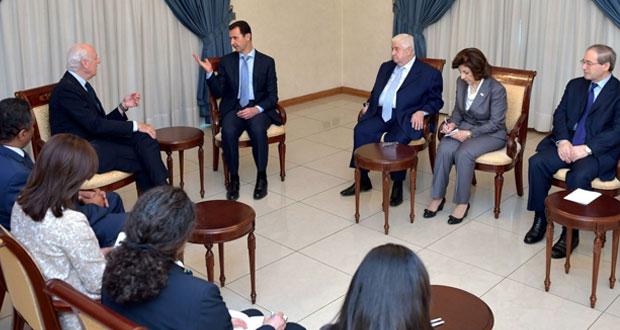 سوريا: الأسد يحذر من الصمت على جرائم الإرهاب ويتفق مع دي ميستورا على متابعة التشاور