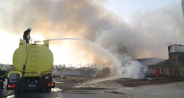 حريق بمنطقة المعبيلة الصناعية ولا خسائر في الأرواح