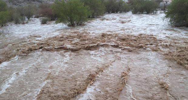 هطول امطار متفاوتة الغزارة وجريان الاودية بعدد من الولايات
