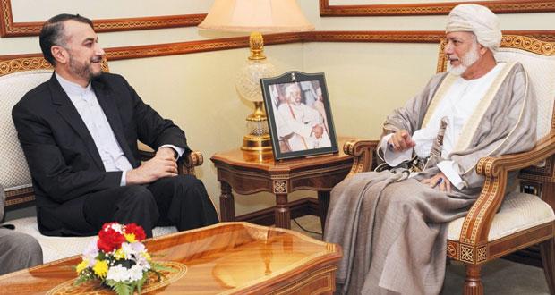 يوسف بن علوي يستقبل مساعد وزير الخارجية للشؤون العربية والافريقية الإيراني