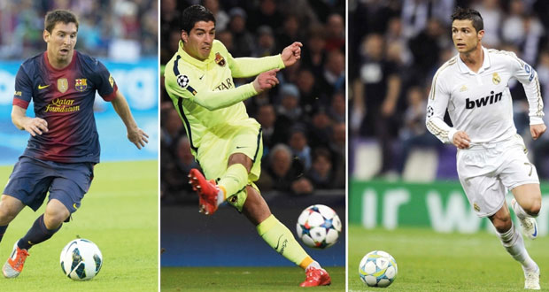 سواريز وميسي ورونالدو يتنافسون على أفضل لاعب في أوروبا