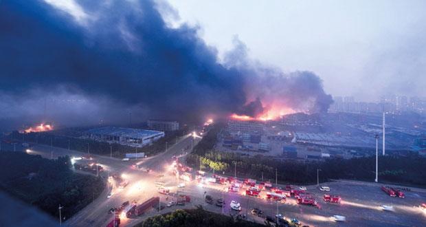 الصين: انفجاران هائلان يخلفان مئات القتلى والجرحى