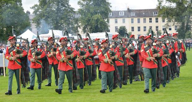 موسيقى الجيش السلطاني العماني تواصل مشاركاتها في مسابقات القرب والطبول في إسكتلندا