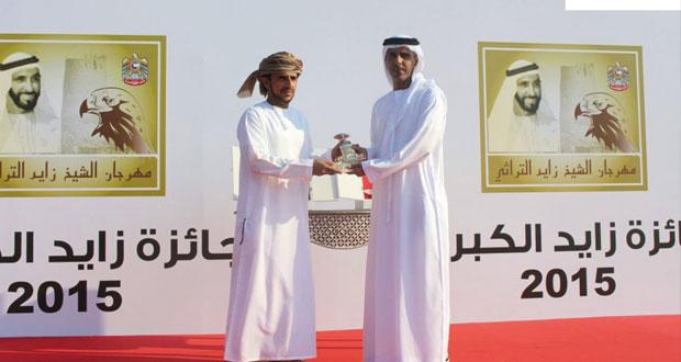 البكرة (عز) لحمد بن محمد الوهيبي تفوز بالخنجر الذهبي بالشوط الأول الرئيسي للقايا بمهرجان زايد التراثي بالوثبة