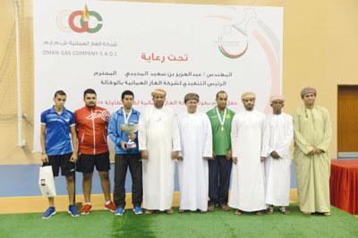 البحريني أنور مكي بطلا لبطولة شركة الغاز العمانية المفتوحة لكرة الطاولة