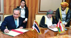 التوقيع على مذكرتي تفاهم بين السلطنة وتايلند في المجالين السياسي والصحي وبحث التعاون السياحي