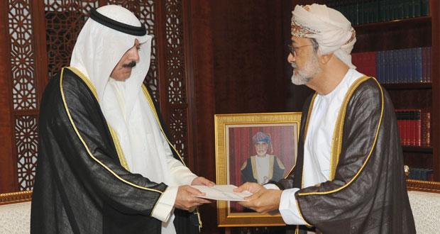 جلالة السلطان يتلقى رسالة خطية من أمير الكويت