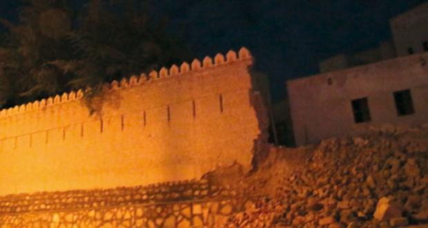انهيار الجزء الشرقي لسور قلعة الرستاق