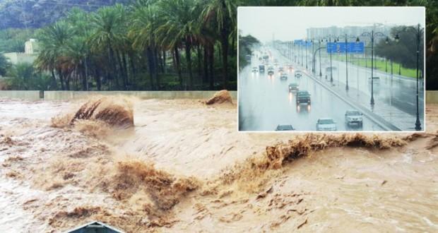هطول أمطار متفاوتة الغزارة ودعوات بأخذ الحيطة وعدم عبور الأودية