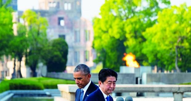 أوباما يضع الزهور على نصب السلام في هيروشيما (دون اعتذار)