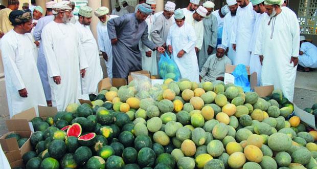سوق نزوى يشهد طرح العديد من المنتجات والمحاصيل الزراعية المحلية