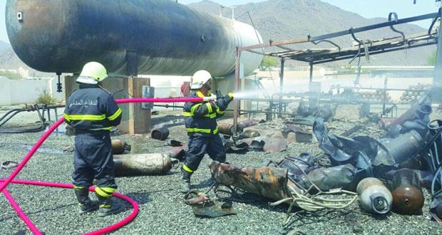 «الدفاع المدني» يسيطر على حريق بمحطة تعبئة الغاز بمدحا