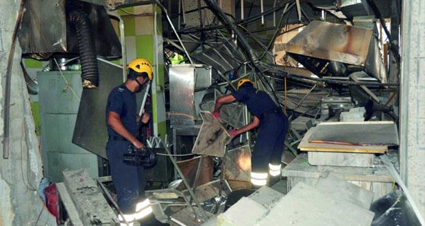 الشرطة والدفاع المدني : انفجار اسطوانة غاز للطبخ يوقع أضرارا بالغة في إحدى البنايات والسيارات في منطقة الخوير بمسقط
