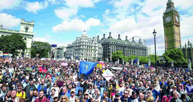 تظاهرة بلندن منددة بالانفصال عن الاتحاد الأوروبي