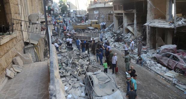 الجيش السوري يطوق المسلحين بالغوطة والإرهابيون يقصفون المدنيين بحلب