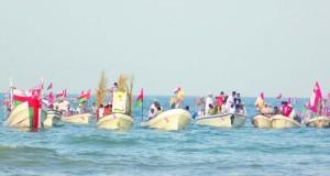 صــحار تختتم احتفالاتها بمهرجان بحري مقابل قلعة صحار التاريخية