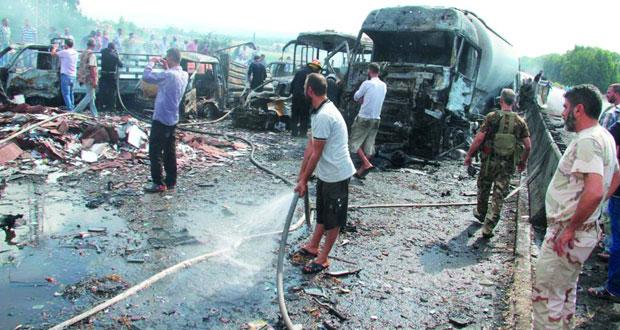 الإرهابيون يسقطون قتلى وجرحى بالعشرات في سلسلة تفجيرات بسوريا