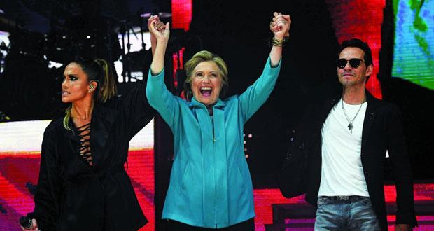كلينتون تلجأ للمشاهير في حملتها الانتخابية وترامب يستغل فضيحة الرسائل الإلكترونية