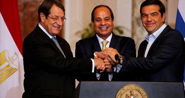 قمة مصرية قبرصية يونانية تؤكد التعاون في قضايا الإرهاب والهجرة والطاقة