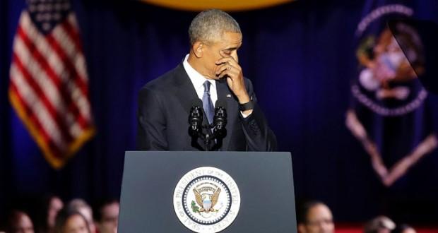 أوباما في خطاب الوداع: دموع وتأثر واشادة بزوجته وابنتيه