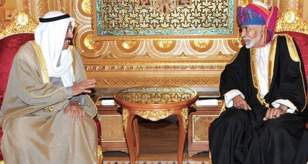 جلالة السلطان وأمير الكويت يستعرضان العلاقات الطيبة والتعاون المثمر بين البلدين