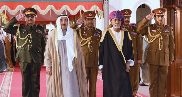 جلالة السلطان يستقبل أمير دولة الكويت