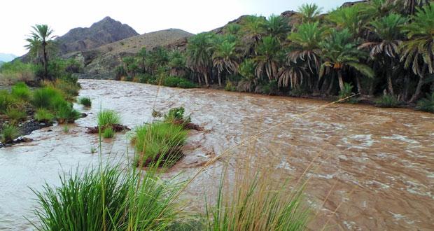 عدد من محافظات السلطنة تشهد امطار متفاوتة الغزارة