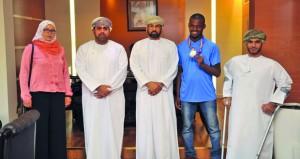 وكيل وزارة الشؤون الرياضية يستقبل محمد المشايخي صاحب فضية العالم