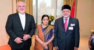 السلطنة وإيران والهند يؤكدون على تعزيز العلاقات في الجانب الاقتصادي