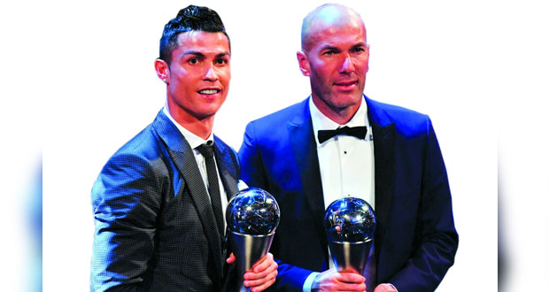 في جوائز فيفا: رونالدو وزيدان أفضل لاعب ومدرب في 2017