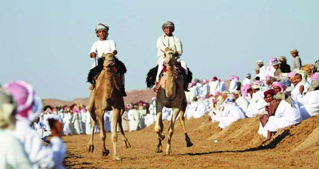 استعراضات شيقة ومشاركة واسعة يشهدها مهرجان سباق ركض عرضة الهجن بجعلان بني بوعلي
