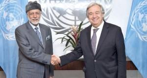 الوزير المسؤول عن الشؤون الخارجية يبحث تعزيز التعاون مع أمين عام الأمم المتحدة