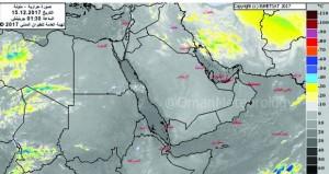 بأمطار على مسندم .. السلطنة تبدأ التأثر بأخدود المنخفض الجوي