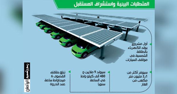 أول مشروع لتوليد الكهرباء بالطاقة الشمسية في مواقف السيارات