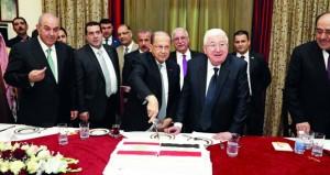 الرئيسان العراقي واللبناني يبحثان التعاون ضد الإرهاب