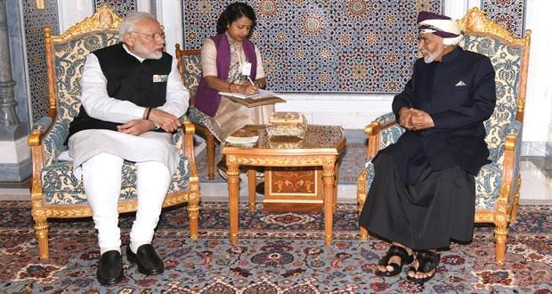 جلالة السلطان يبحث مع رئيس الوزراء الهندي أوجه التعاون القائم بين البلدين