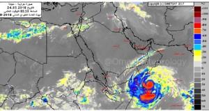الاعصار (ميكونو ) يدخل ظفار مصحوبا بامطار غزيرة جدا ورياح قوية وارتفاع في موج البحر يصل لـ 12 مترا