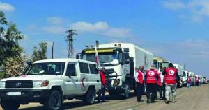 الهلال الأحمر السوري يوزع مساعدات غذائية بريف درعا