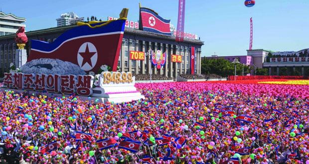 بعرض عسكري ضخم .. كوريا الشمالية تحتفل بالذكرى الـ70 لتأسيسها