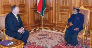 جلالة السلطان يستعرض مع وزير الخارجية الأميركي أوجه التعاون القائم بين البلدين