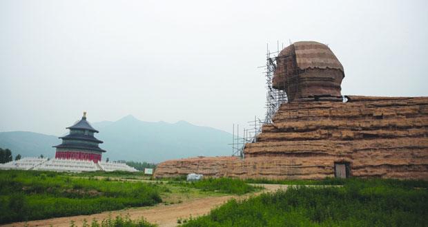 الصين تهدم تمثال أبو الهول المزيف