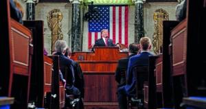 في خطابه عن حالة الاتحاد .. الرئيس الأميركي يدعو لنبذ سياسة الانتقام ويعد ببناء الجدار الحدودي